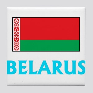 Belarus Flag Classic Blue Design Tile Coaster
